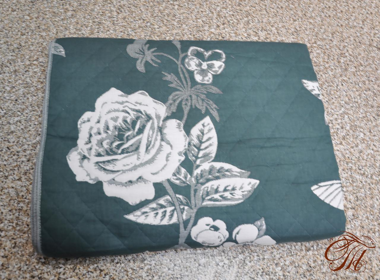 Покривало лляне 200х230 Троянда зелена