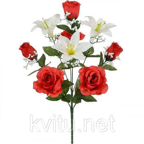 Искусственные цветы букет лилии и розы, 54см