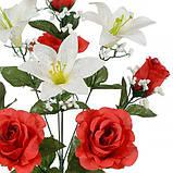 Искусственные цветы букет лилии и розы, 54см, фото 2