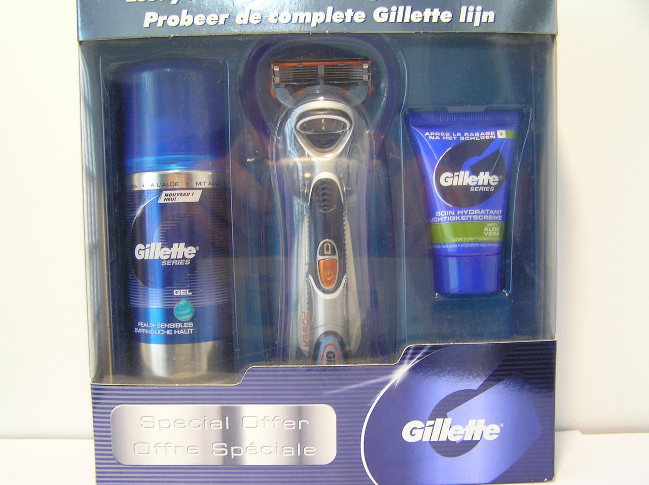 Набор для бритья мужской Gillette Fusion Power (3 предмета станок+гель 75 мл.+средство после бритья 15 мл.)