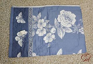 Покривало лляне 150х200 Троянда сіро-синя
