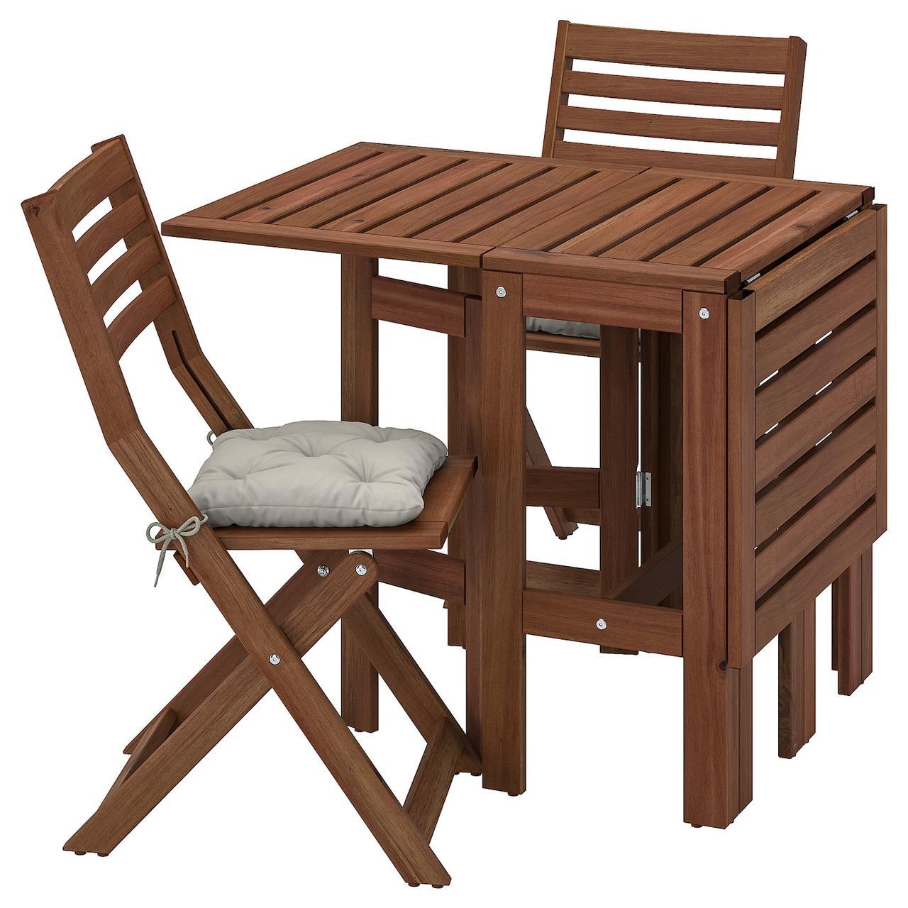 IKEA ÄPPLARÖ Стол + 2 раскладных стула