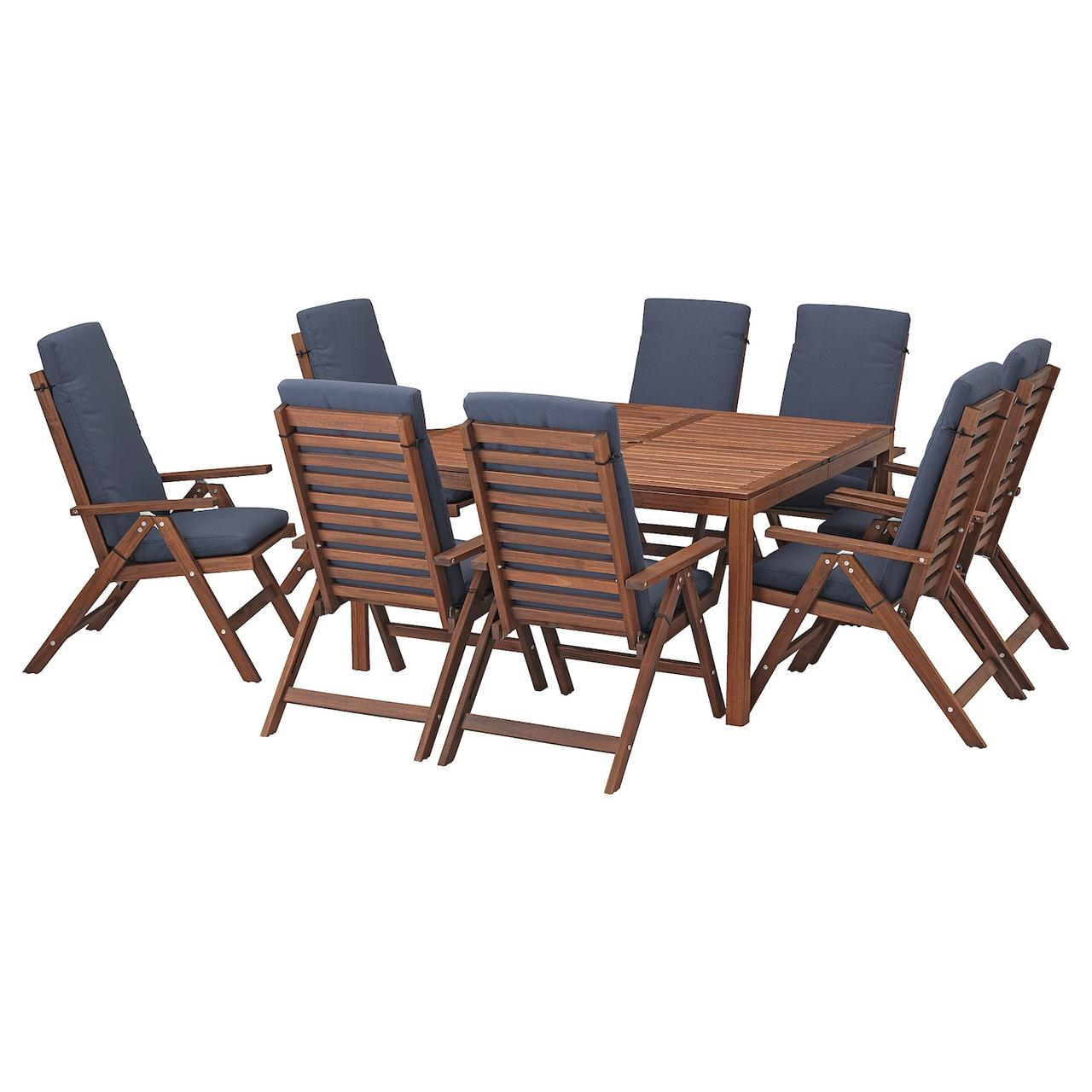 IKEA ÄPPLARÖ Стол + 8 раскладных стула