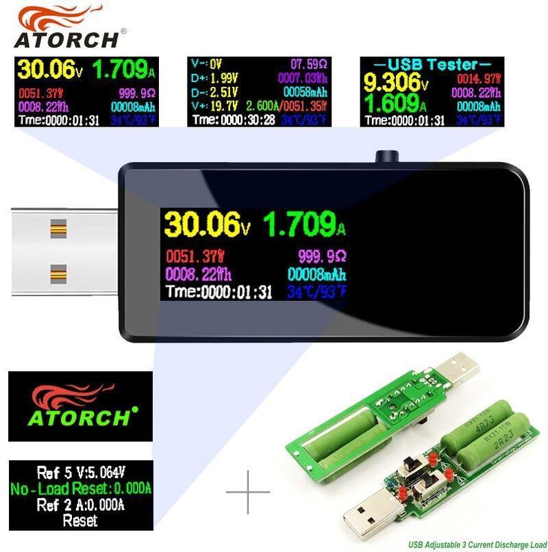 Usb тестер Atorch u96 з навантажувальним резистором