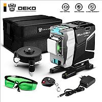 3D DEKO DKLL12tdP02 12 линий ТРИНОГА+ПУЛЬТ 360 градусов Зеленый ЛУЧ до 50м лазерный уровень нивелир