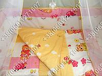 Защита бортик в детскую кроватку для новорожденных (садовник розовый)