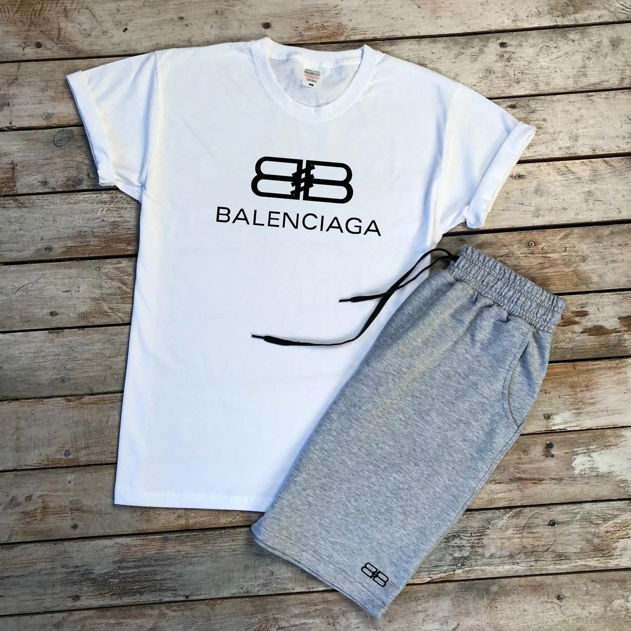 Футболка и шорты Balenciaga белого и серого цвета
