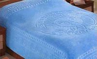 Покрывало на кровать махровое VERSACE - голубого окраса