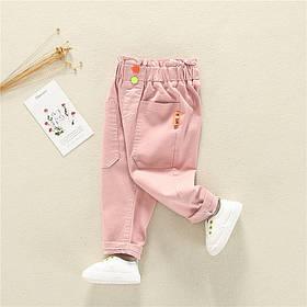 Стильные штаны на девочку с широкой резинкой весна-лето  1-4 года розовые
