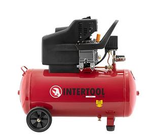 Поршневой компрессор Intertool PT-0003 с защитой от скачков напряжения и перегрева двигателя