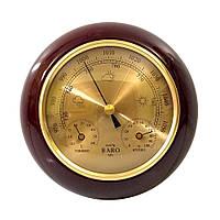 Барометр настінний дерев'яна яний з термометром та гігрометром (15 x 15 x 5 см) 350