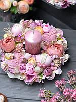 """Пасхальна композиція на стіл зі свічок «Рожевий туман"""""""