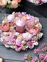 """Пасхальная композиция на стол со свечей «Розовый туман"""""""
