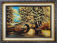 """Картина із бурштину """"Місток над річкою"""" (28 x 37 см) BK0020"""