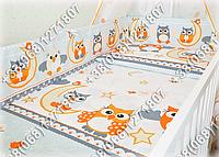 Бортики в детскую кроватку защита бампер Сова серая