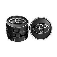 "Колпачки на титаны ""Toyota"" (60/55мм) черн/хром. пластик объемный логотип (4шт)"
