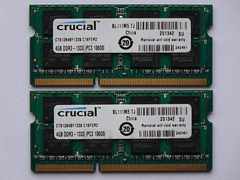 Игровая Оперативная память для ноутбука DDR3 SODIMM 4GB (1333MHz, PC3-10600, 1.5v, CRUCIAL CT51264BF1339) БУ