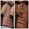 Длинный пуховик пальто с капюшоном