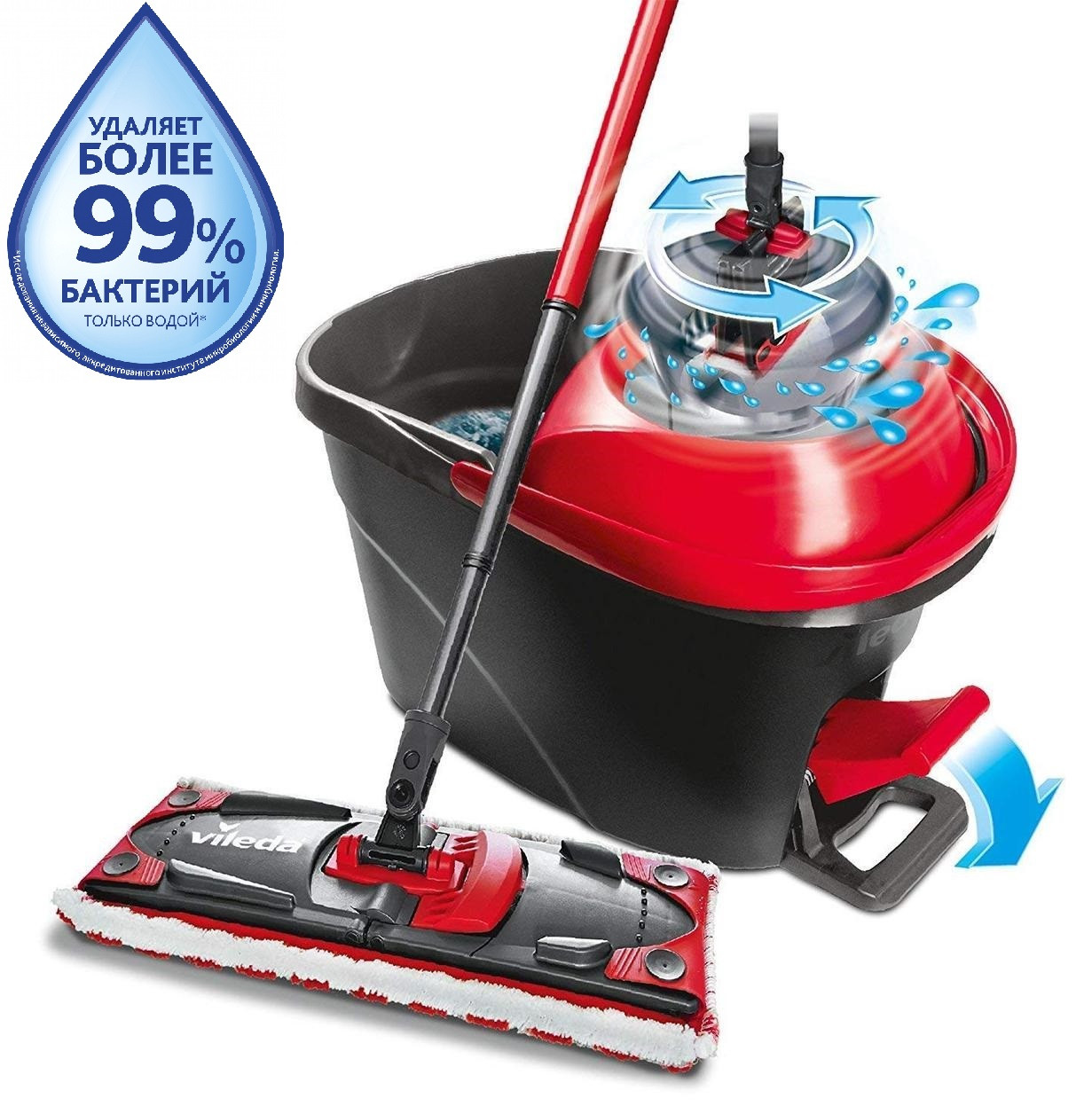 Набор для уборки Vileda Ultramat Turbo (швабра и ведро с отжимом) (4023103206236)