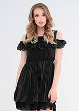 Чорне плаття з шифону з відкритими плечима M