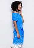 Голубое тонкое коттоновое платье с белой вышивкой и плотным кружевом по подолу S, фото 2