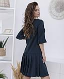 Темно-зелене вільне плаття з плісировка S, фото 3
