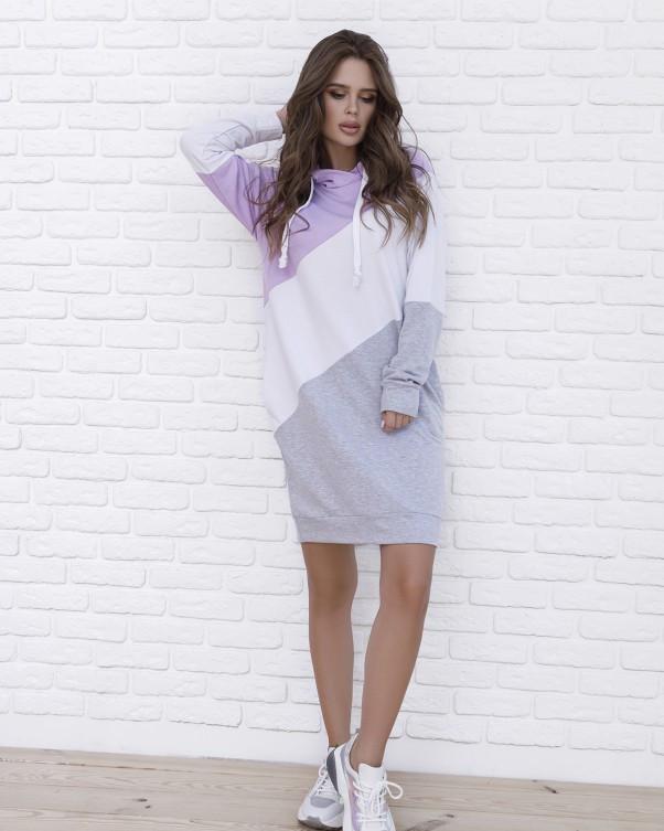 Трикотажное повседневное платье с капюшоном XL