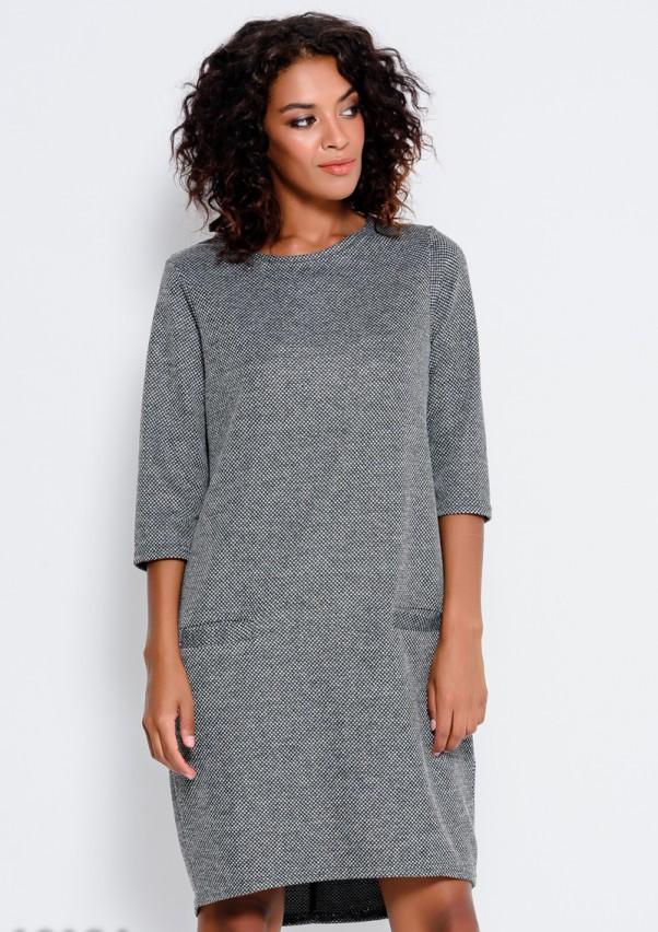 Серое асимметричное платье прямого кроя с карманами