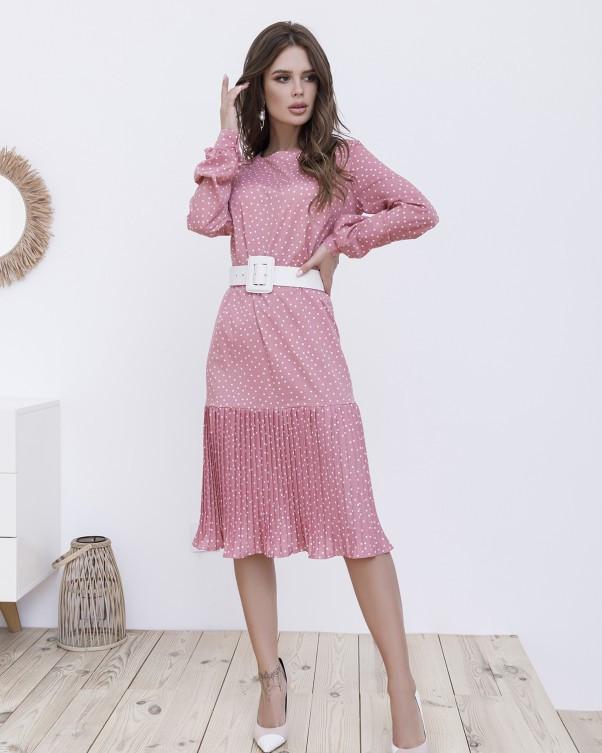 Рожеве пряме плаття в горошок з плісировка