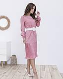 Рожеве пряме плаття в горошок з плісировка, фото 2