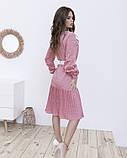 Рожеве пряме плаття в горошок з плісировка, фото 3