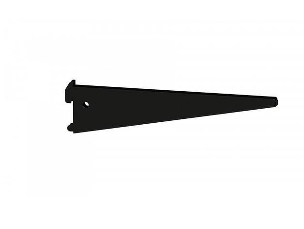 Подвійний Кронштейн 220мм під ДСП /скло полицю (чорний), фото 2