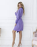 Фіолетова сукня з декольте на запах S, фото 2