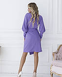 Фіолетова сукня з декольте на запах S, фото 3