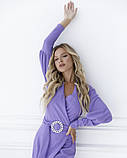 Фіолетова сукня з декольте на запах S, фото 4
