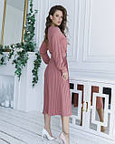 Розовое приталенное платье с плиссировкой, фото 2