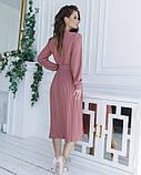 Розовое приталенное платье с плиссировкой, фото 3