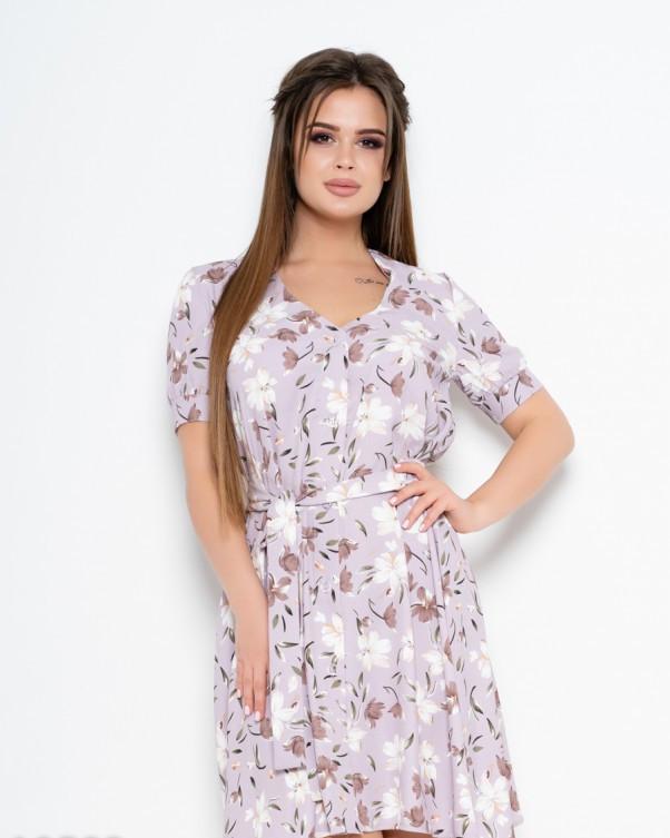 Сиреневое принтованное платье со съемным поясом L