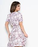 Сиреневое принтованное платье со съемным поясом L, фото 3