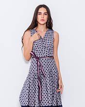 Сіре тонке коттоновое плаття в горошок з довжиною до колін і розкльошеною спідницею S