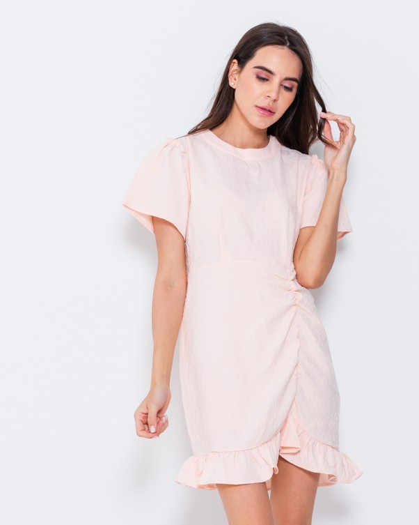 Персикове фактурне сукня виконана з стрейч котону з потайною блискавкою на спині S