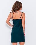 Зеленое платье с кружевом и завязками сбоку, фото 3