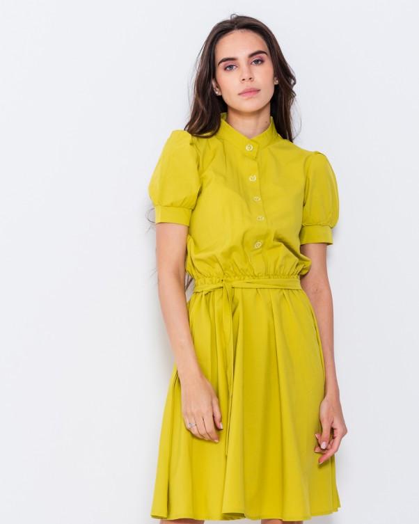 Оливковое офисное платье с короткими рукавами