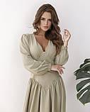 Светло-зеленое платье с оригинальной драпировкой L, фото 4