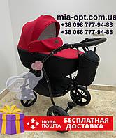 Детская коляска 2 в 1 Classik Len(Классик Лен) Victoria Gold графит красный