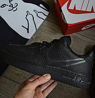 Мужские кроссовки Nike Air force 1 low Stussy Black демисезонные. Живое фото. Реплика. Чоловічі кросівки весна