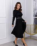 Чорне замшеве приталене плаття класичного крою (S M L XL) S, фото 2