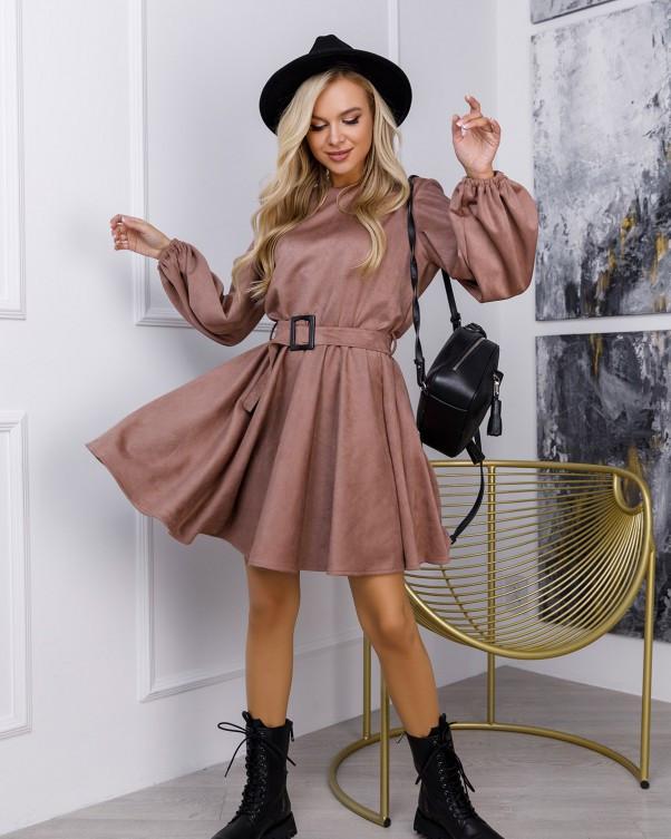 Бежевое замшевое приталенное платье (S M L XL) Платья, Craze fashion, Эко-замша, M, 59% полиэстер, 21% XL