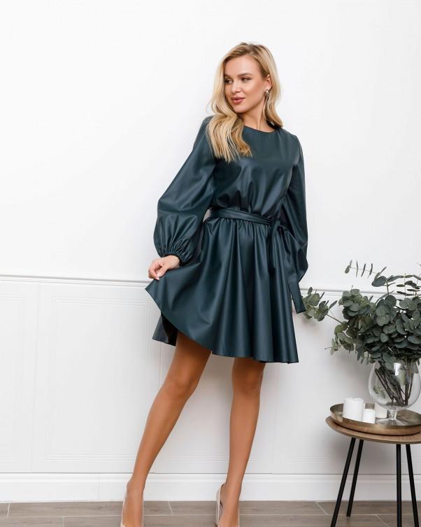 Зеленое кожаное приталенное платье с объемными рукавами (S M L XL) XL S