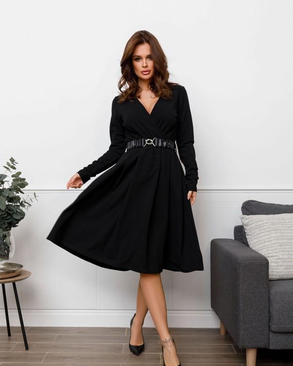 Черное платье с декольте на запах (S M L XL)